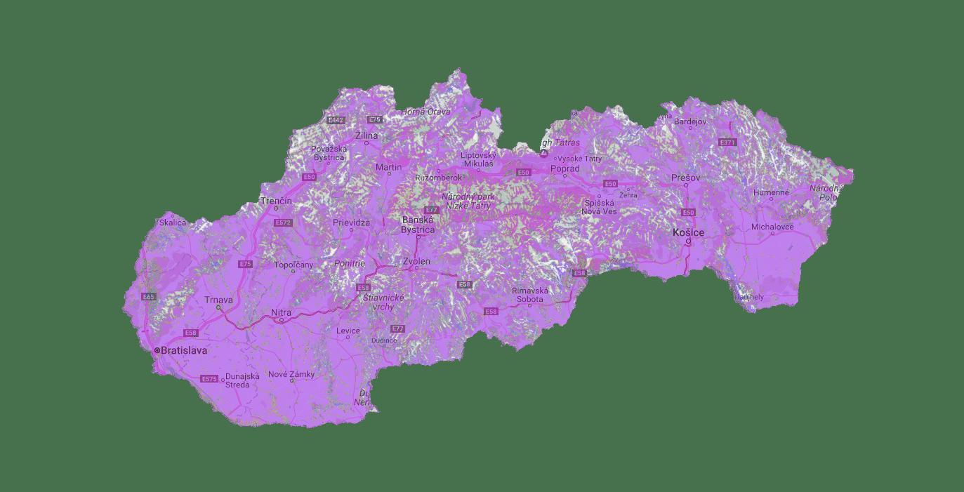 Plánované pokrytie siete Sigfox na Slovensku